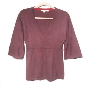 Boden kimono sleeve wrap front knit top in mauve